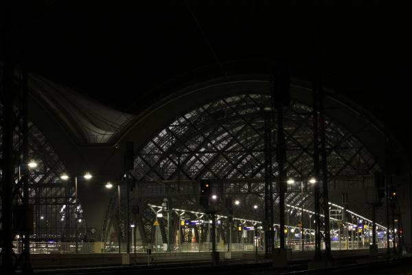 Altstadt, Architektur, Bahnhof, Dresden, Eisenbahn, Hauptbahnhof, Nacht