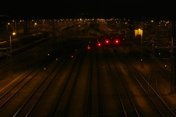 Bahnhof, Dresden, Eisenbahn, Friedrichstadt, Nacht, Schienen