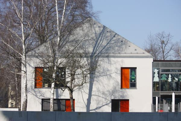 Architektur, farbig, hänel furkert architekten, Kindergarten, orange, weiß